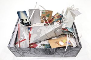 Recycling Christmas cards. Box full of recycled Christmas cards