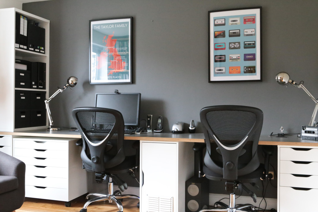 His and hers Ikea Hack Home Office / Study with desk and chairs