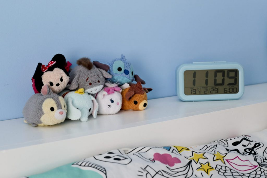 Ikea Hack Children's cabin bed & bedroom makeover Finishing touches, colourful Tsum Tsums on shelf