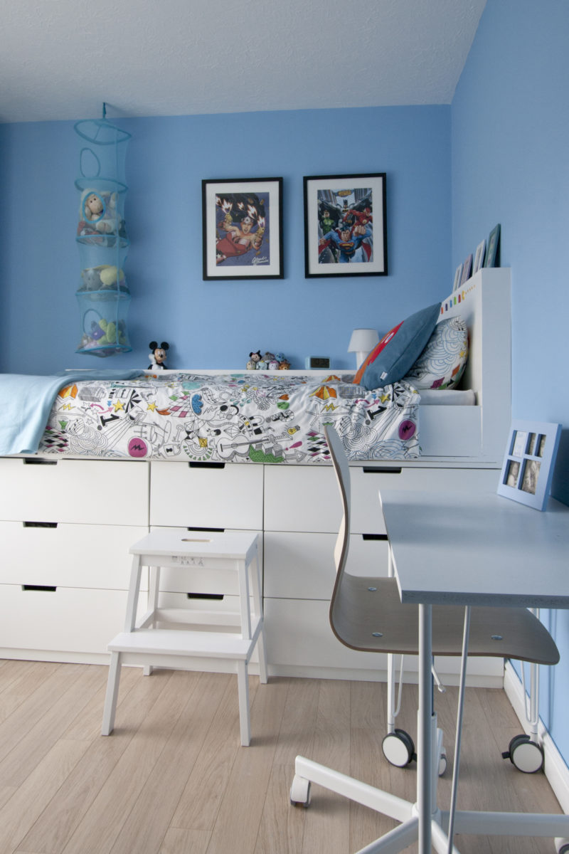 Ikea Hack children's cabin bed and DIY MDF Desk on Ikea legs