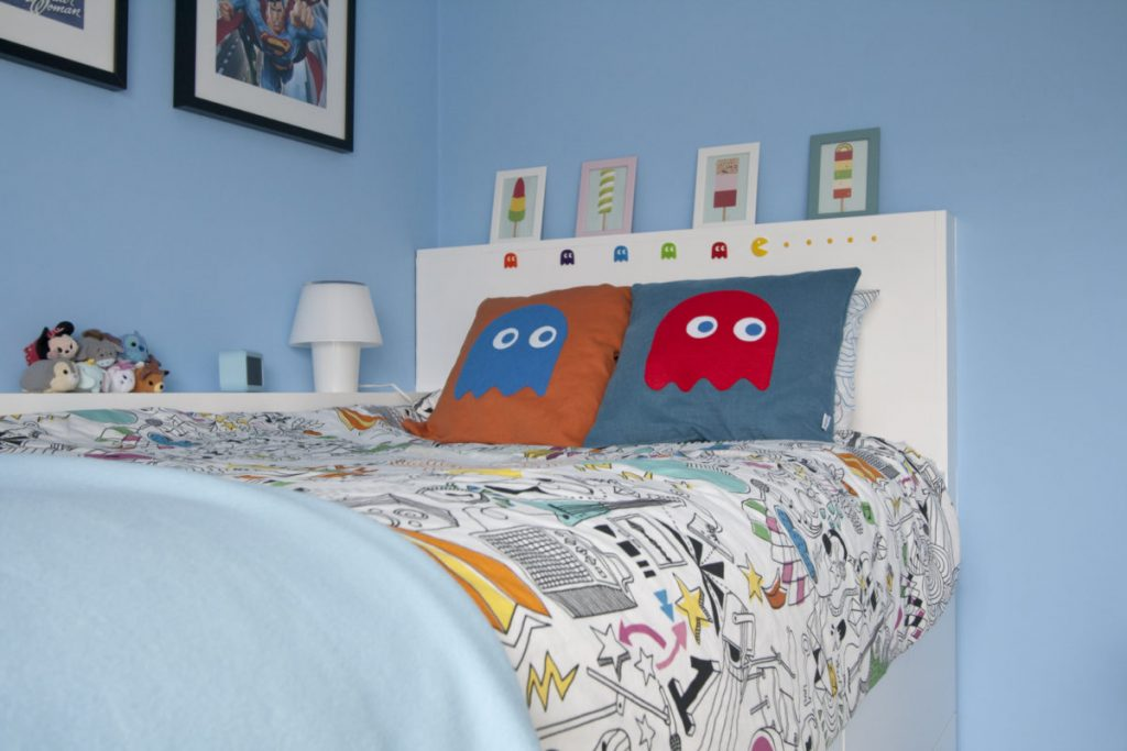 Ikea Hack children's cabin bed Handmade Pac-man Ghost cushions, Ikea duvet cover and Ikea ice lolly prints and frames.