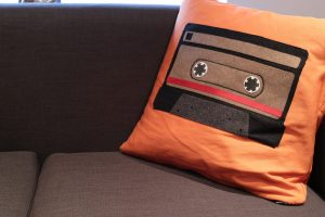 Handmade retro cushion close up