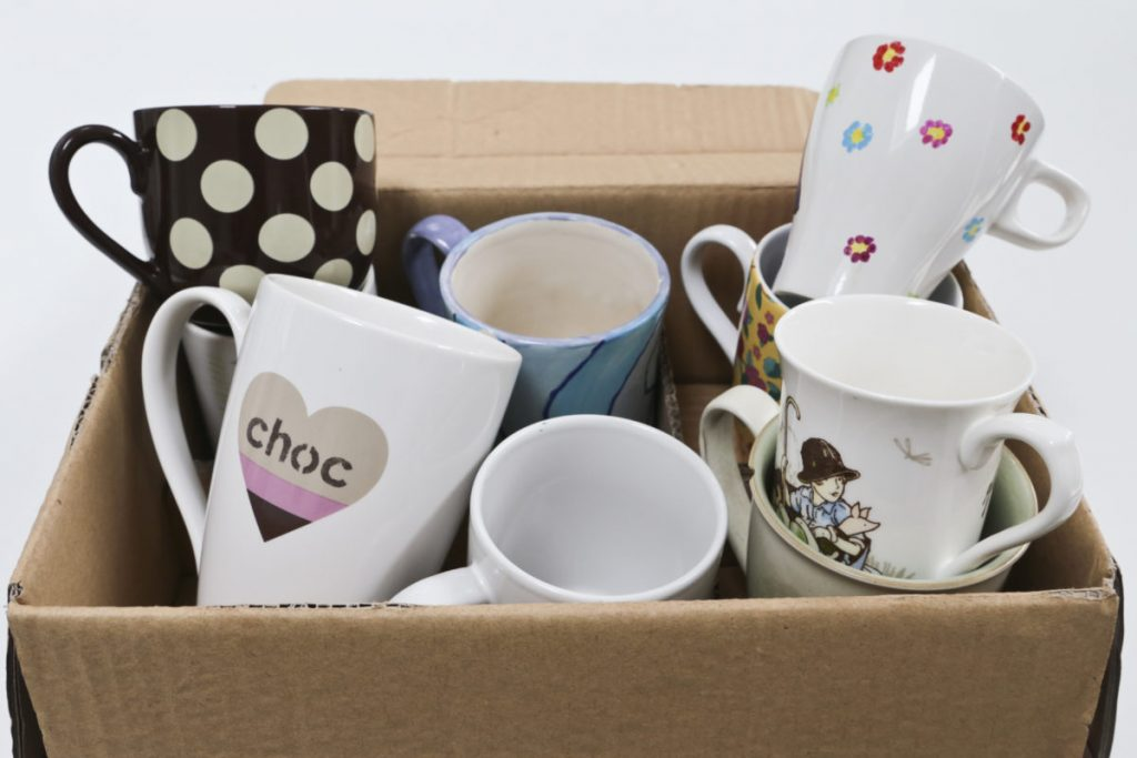Box of random mugs