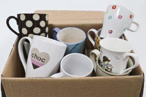 Box of random mugs