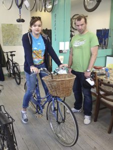 Beth tests out the bikes at Nottingham Bike Works