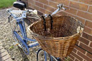 Front wicker basket on bike