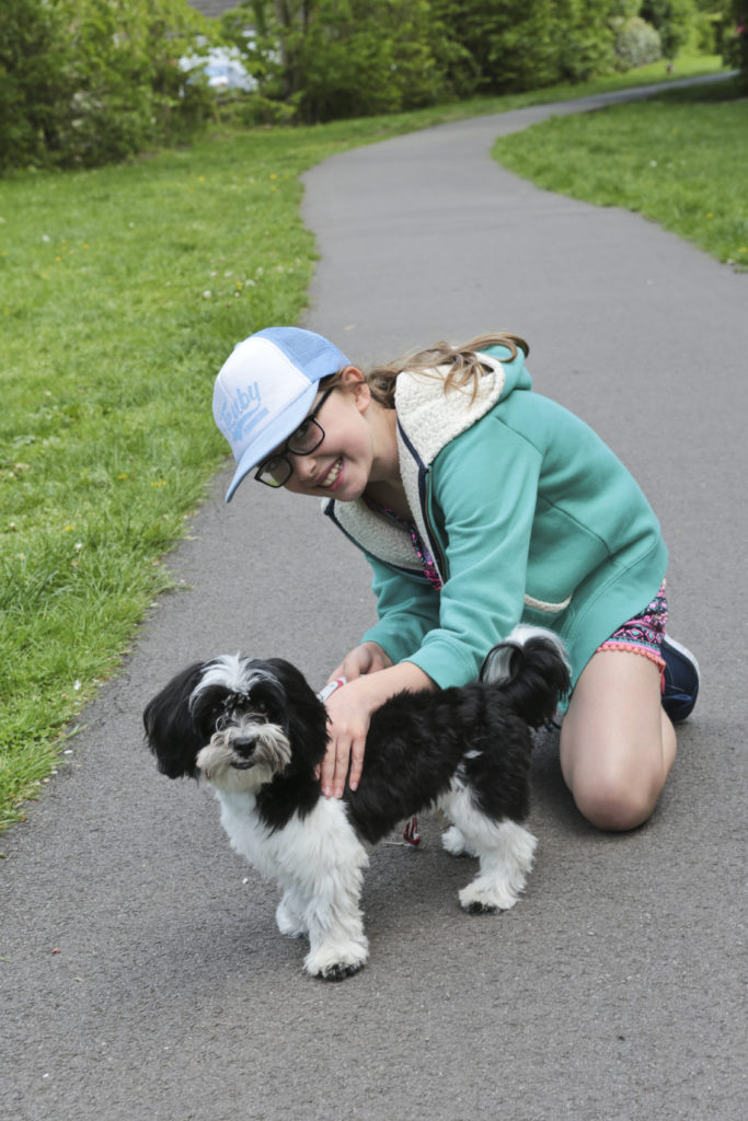 Emily walking our neighbours dog dexter