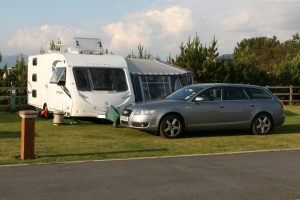 Penny the caravan at Min-y-Don Caravan Site in Harlech, Wales