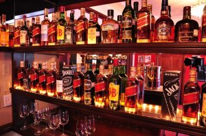 Bar stocked with alcohol