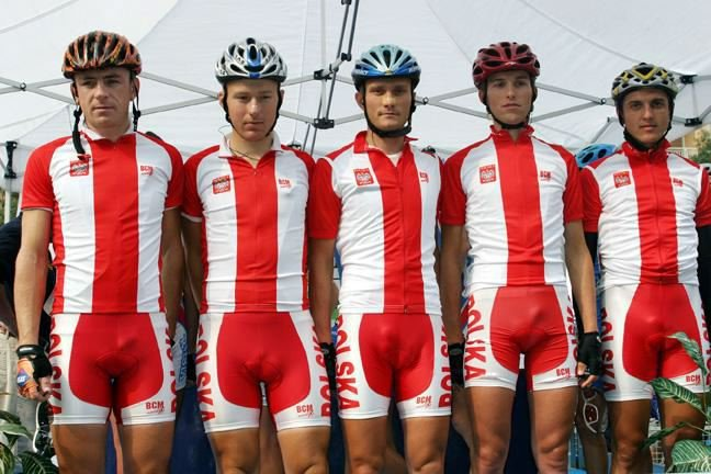 Polish Cycling Team in ugly cycling shorts