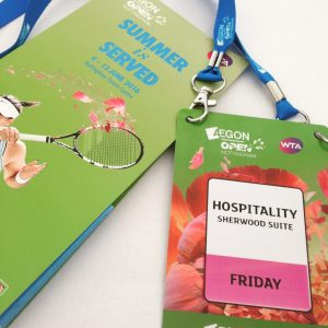 Hospitality Lanyard and Programme for Aegon Womens Open Tennis Tournament Nottingham