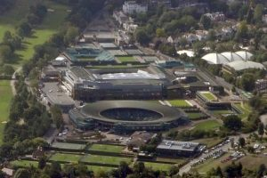 Aerial view of Wimbledon Tennis Club, London. Why I love Tennis. My top 10 Wimbledon moments.