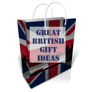 Gift bag with union flag and london landmarks and text overlay gift ideas