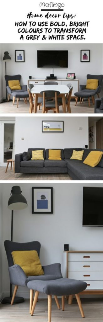How we used bold, bright colours to transform our grey & white space Use brightly coloured soft furnishings and wall art to transform a room with a grey colour scheme. The grey armchair, matching footstool (Homesense) and the grey Hektar Ikea lamp are 'brought to life' with the colourful Beth Jordan Cushion, Jacky Al-Samarraie - Llanbeder Framed Print. The yellow cushions make all the difference when placed on our grey corner sofa, injecting much needed colour. I love the Yellow knitted Beth Jordan cushions and the yellow Scion Mini Mr Fox Cushions.