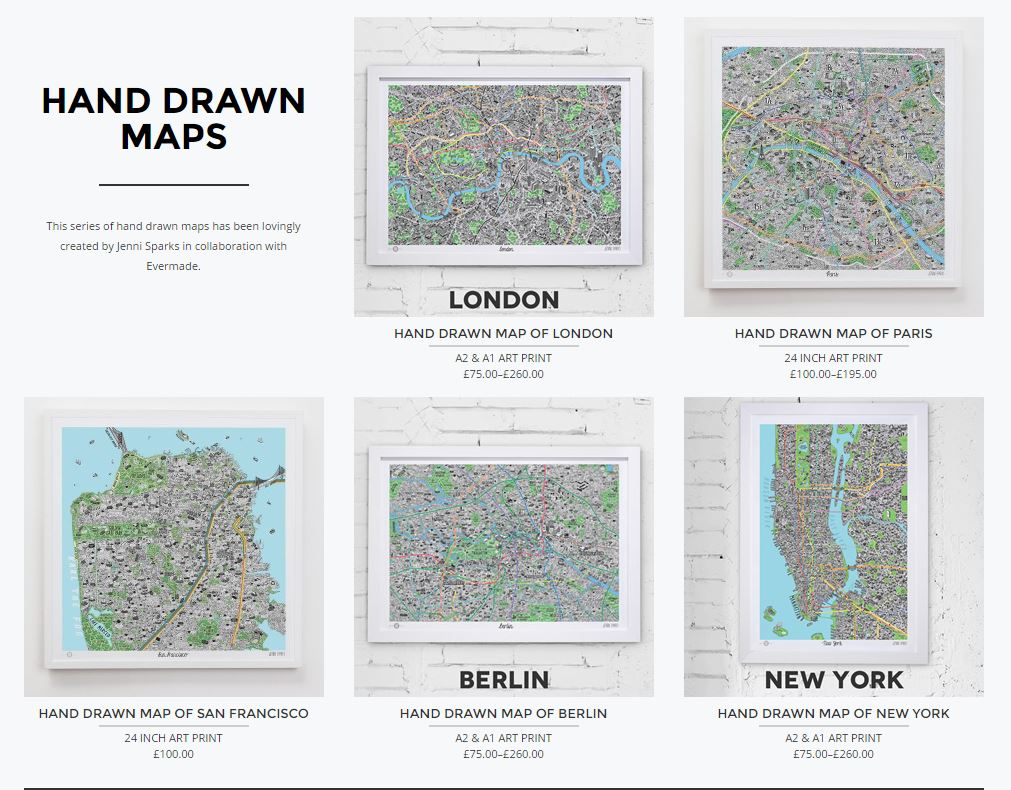 Jenni Sparks Handdrawn Maps at Evermade.com
