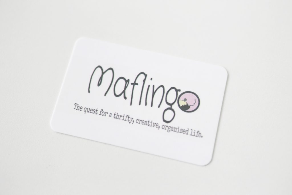 The back of my Maflingo business card from Moo.com with my Maflingo logo and strapline
