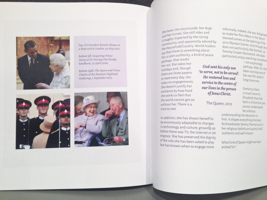Photos and text in 'The servant queen and the King she serves' book