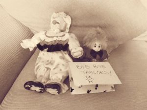 Scary clown ornaments with a message saying bye bye taylors