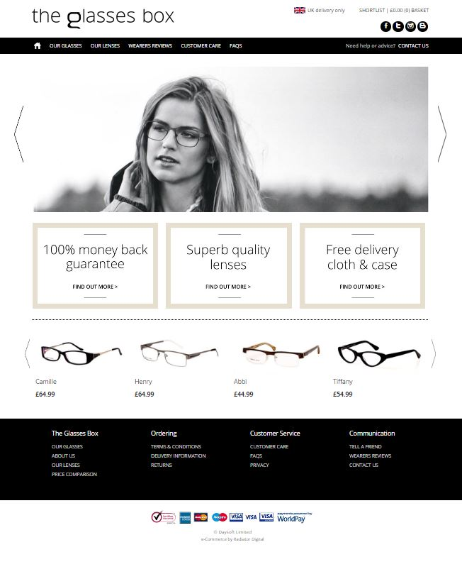 The home page of The Glasses Box Website