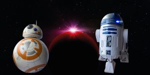 bb8 droid and R2D2 in front of a red planet