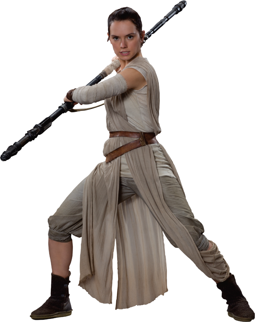 Rey and her staff from Star Wars The Force Awakens