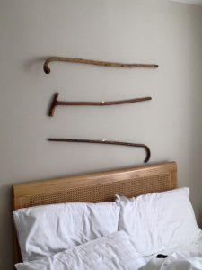 Walking sticks on a wall
