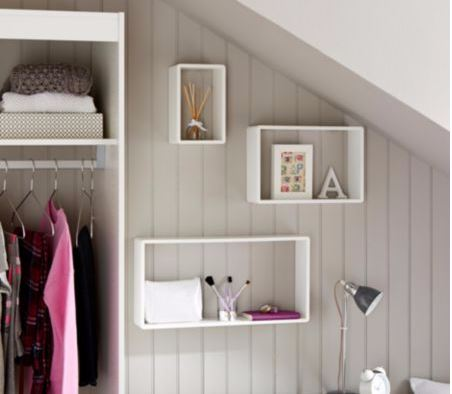 B & Q White Cube Shelves set of 3 on a wall above a desk under the stairs