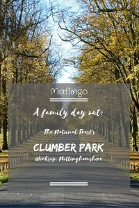 A family day out at Clumber park National Trust Property Text Overlay in front of a picture of the famouse avenue of lime trees taken in Autumn. There are so many things for children and families to do on a trip to Clumber Park such as cycling, visiting the Discovery Centre, Sports and activities, The walled garden, The old Gothic church.