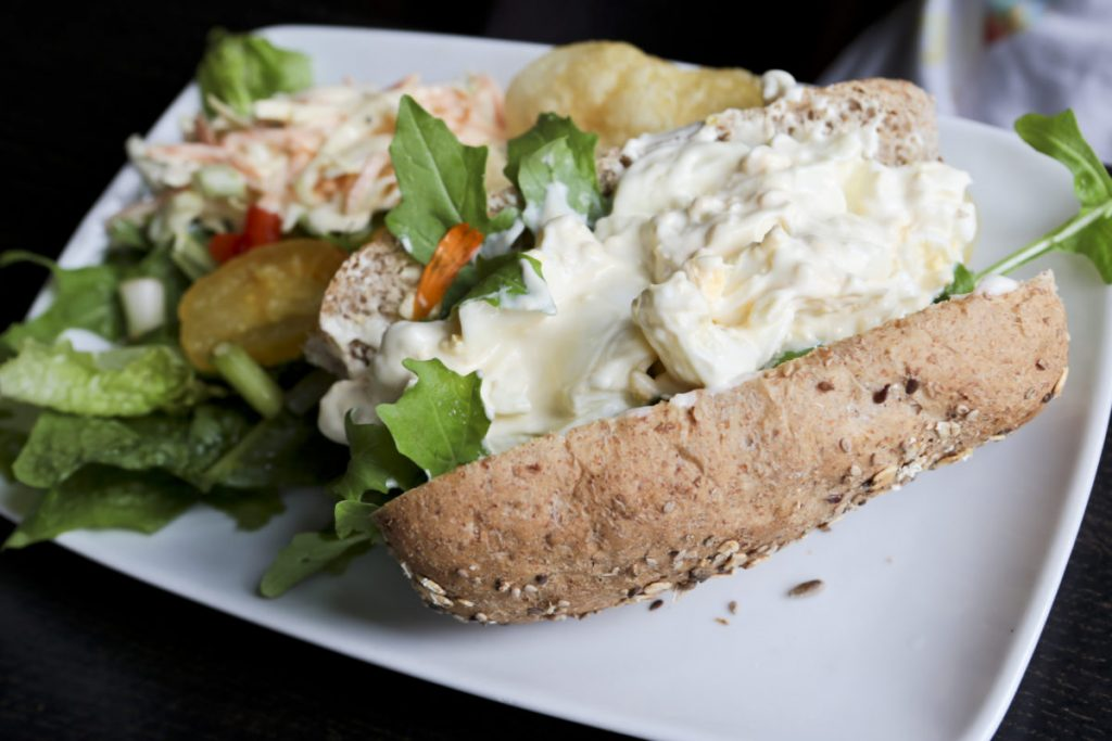 An Egg mayonnaise sandwich with salad and coleslaw, served at the Garden Tea Room, Clumber Park National Trust