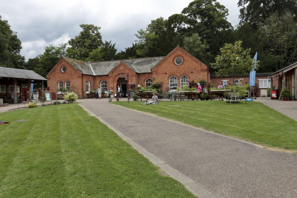View of the Clumber Park National Trust Shop and information hut.