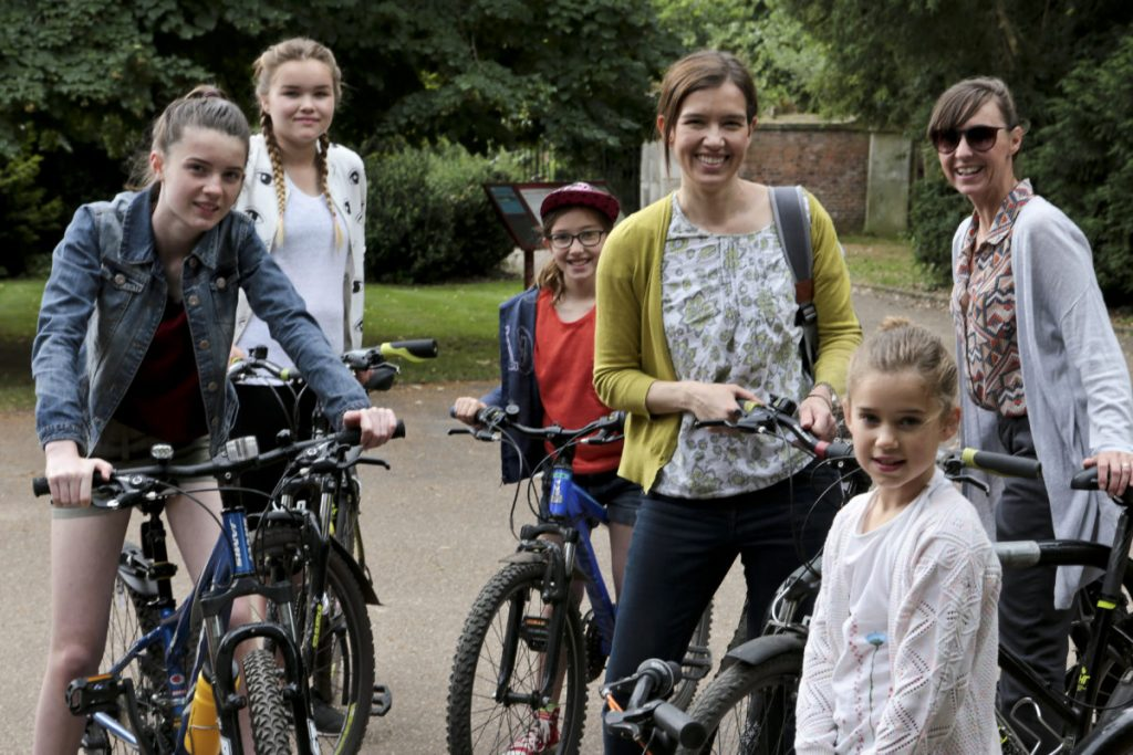 Me, Alex from mylifelongholiday.com and the girls have our bikes and are ready for our bike ride around CLumber Park National Trust Property
