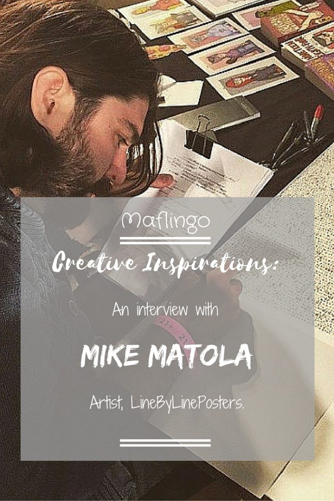 Creative Inspirations: An interview with Mike Matola, Artist LineByLinePosters (Text Overlay) Mike Matola sitting at his desk and working on his Totoro line-by-line drawing