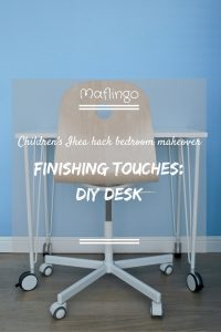 DIY desk with text overlay saying 'Childrens Ikea Hack Bedroom makeover: Finishing touches DIY Desk