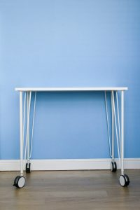 DIY MDF Desk on Ikea table legs on castors with an Ikea VÅGSBERG / SPORREN chair