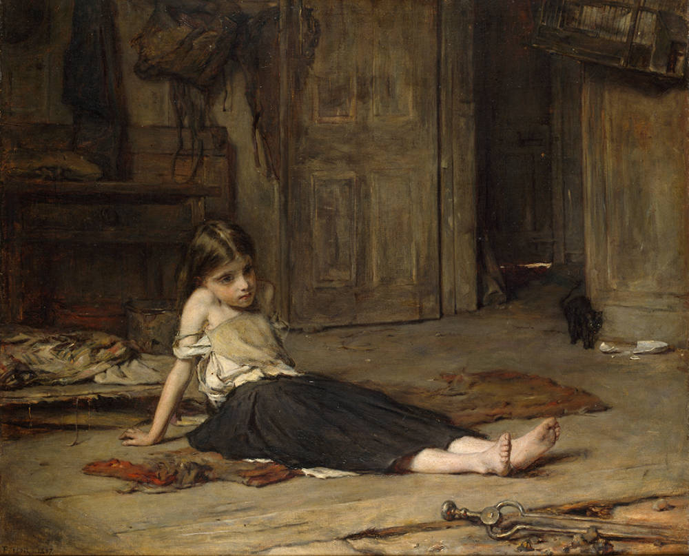 Faces in the Fire, Painting by Frank Holl. 1863 (oil on canvas)