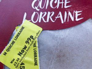 Short-dated Food Quiche Lorraine with Yellow Sticker Price Mark-down