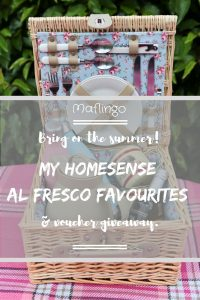 Bring on the Summer: My Homesense Al Fresco Favourites and voucher giveaway. Picnics hampers filled with lots of lovely goodies including: Coffee thermos, enamel mugs, plates, plastic glasses, cutlery, cordial, thermos bottles.
