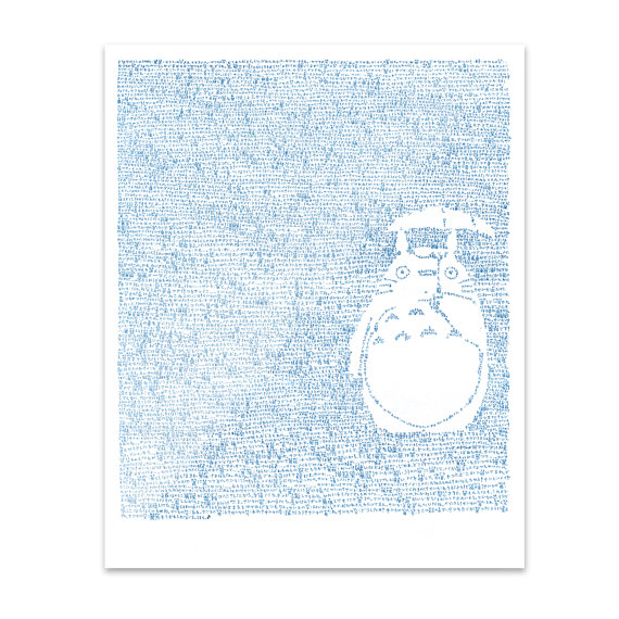 unframed print of Mike Matola's line by line portrait of Totoro.