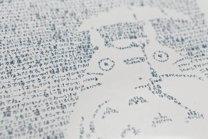 Close-up of Totoro line by line portrait by Mike Matola with Japanes words making up the image