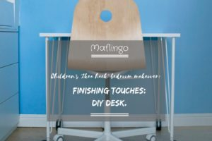 Text overlay Childrens Ikea Hack bedroom makeover gfinishing touches: DIY Desk DIY MDF Desk on Ikea table legs on castors with an Ikea VÅGSBERG / SPORREN chair