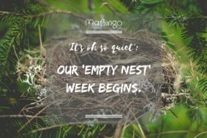 Text overlay 'It's oh so quiet': Our 'empty nest' week begins