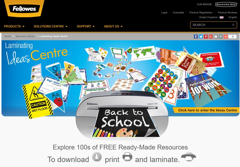 Web Page screenshot of Fellowes Ideas Centre