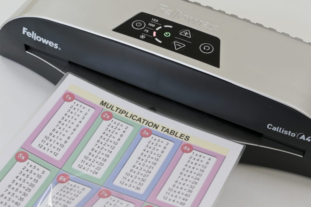 A printable in a laminated pouchabout to be fed into the Fellowes Callisto A4 Laminator