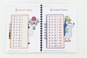 Inside Laminated times table workbook made using Fellowes Comb Binder