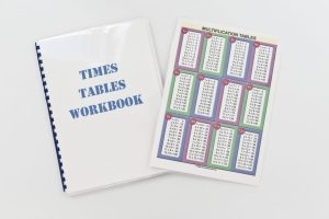Laminated times table workbook made using Fellowes Comb Binder