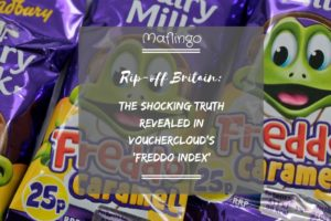 Text overlay: Rip-off Britain: The shocking truth revealed in Vouchercloud's 'Freddo Index' Freddo Caramel Chocolates