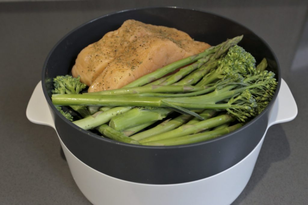 Salmon, Broccoli and green beans on the Joseph Joseph M-Cuisine Microwave Steamer ready to cook