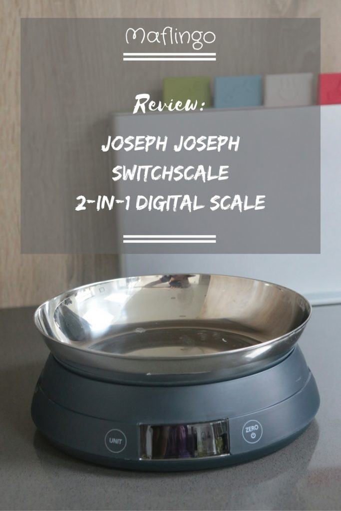 Joseph Joseph SwitchScale 2-in-1 Digital Scale Review Text Overlay With scale in foreground with bowl facing upwards and chopping boards in background