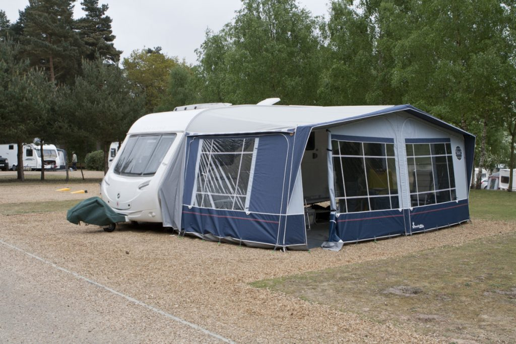 Penny the Sterling Europa touring caravan all set up on Sandringham Caravan Club Site