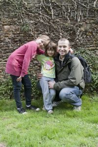 Richard, Beth and Emily in front of a dry stone wall on the walk to Sandringham Palace